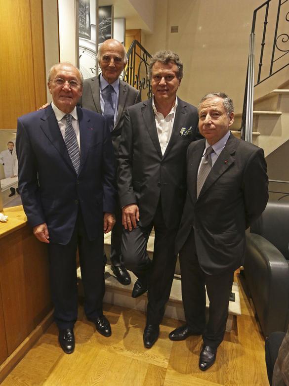Mr Jean-Pierre Martel, Membre Fondateur de l'ICM, le Pr Gérard Saillant, Président de l'ICM, Mr François-Paul Journe, et Mr Jean Todt, Vice-Président de l'ICM