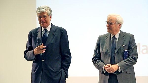 Mr Maurice Lévy (à gauche) et Mr David de Rothschild (à droite), co-présidents du Comité des Amis de l'Institut du Cerveau - ICM, lors du lancement du Cercle des Amis de l'Institut du Cerveau - ICM le 4 juillet 2014