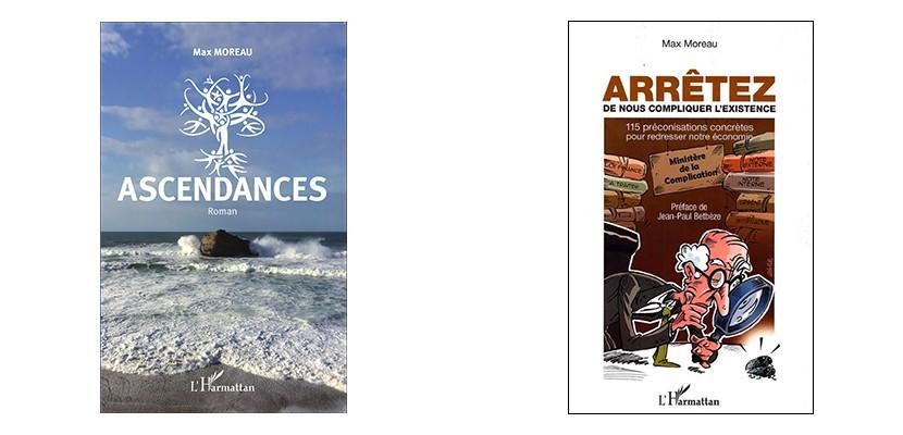 Couvertures des livres « Arrêtez de nous compliquer l'existence » et « Ascendances »