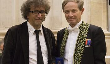 Lionel Naccache (à gauche) Sébastien Candel, vice président de l'Académie des sciences (à droite) ©Juliette Agnel / Académie des sciences