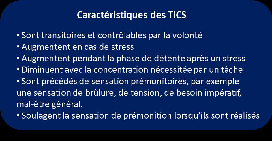 caractéristiques des tics du syndrome gilles de la tourette